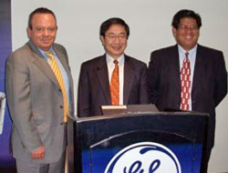 Joe Atick (JK Imaging, Reddot, Jaacx Distributors) with General Imaging founder Hiroshi Komiya and sales VP, Rene Buhay, launch GE cameras in Sao Paulo, Brazil in 2007.