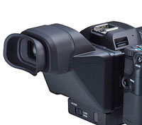 The loupe/viewfinder attached to the LCD screen.