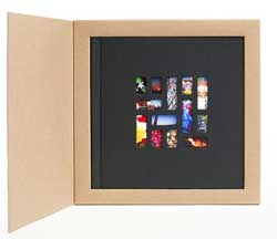 The Mosaic 7x7-inch photo books have images inset into the  linen cover, and are delivered for $25 in a gift box.