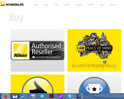 Authorised dealers are highlighted on the MyNikonLife 'Buy' page, while the Nikon store is, in website jargon, 'below the fold'.