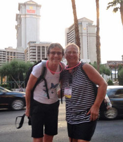 Here's me with Judi Weber (Quality Plus Photos, Illinois) on the 'Instawalk' – it was actually getting dark at the time – I'm sure a real camera would have coped better with the low light!