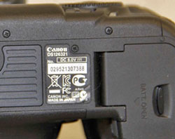 Canon USA claims this 5D Mark III has a counterfeit serial number and was purchased from All New Shop. (Source: Canon USA)