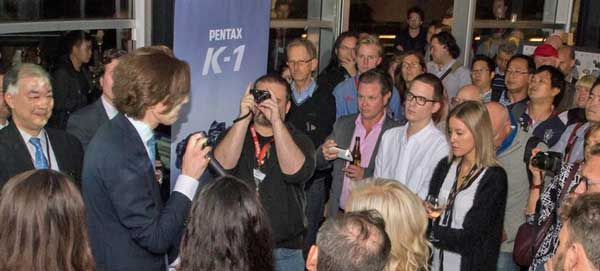 CR Kennedy director, Clem Kennedy introduces the Pentax K-1 at the launch event. At far left is Rico Imaging president, Mr Noburu Akahane