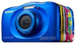 The Coolpix W100 wil be available in Blue, Yellow, White, Pink, and a new Marine-motif design.
