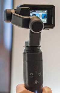 The hand-held gimbal which comes in the GoPro Karma drone package.