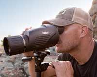 Bushnell Legend HD spotting scope mounted on a tripod.
