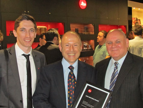 Ryan Williams (Adeal), Peter Michael (Michaels CVD) and Mark Cummins (Adeal) at the official Leica Boutique opening in Melbourne.