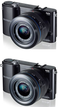 Top pic is the new Samsung NX1100 from B&H, with the NX1000, below. Even the product photography is remarkably similar!