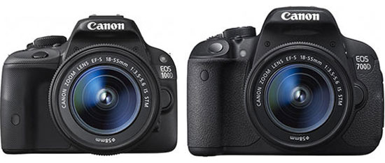 The Canon EOS 100D and 700D - illustrating just how compact the 100D is.