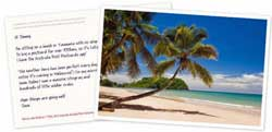 Australia Post offers a custom postcard with a message added delivered anywhere in Australia in four days for $1.99. Printed by Sydney printing company Digitalpress on a Kodak Nexpress 3300.