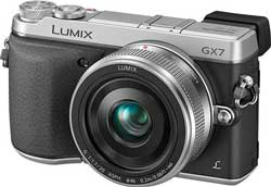 The Lumix GX7 will be available in its retro rangefinder stylings in black and, as above, black and silver.