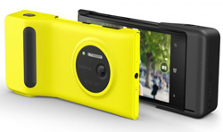 The Lumia 1020 has an accessory camera grip which provides  additional battery life, a two-stage shutter key and a standard tripod mount. (RRP$89.95).