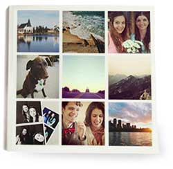 The Albumworks Instagram books can be created on a smartphone. Default template is one picture per page, but ther are a range of options. Keeping it simple is the key.