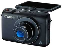 Every shot a selfie: the Canon Powershot N100 has a rear-facing auxilliary camera 'allowing you to simultaneously capture your expression behind the camera as you press the shutter.'