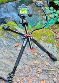 The Manfrotto 190 in the field with the centre column in the horizontal position and