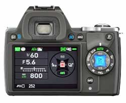 The K-S1's 'flat field' user interface replaces or complements the usual array of DSLR knobs and dials with LED controls.