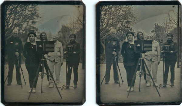 The two Daguerreotype plates captured on the day – these will be mounted in a special case to be viewed as a stereoscopic image. Graham Boswell is in the left of the photo – the other four people were customers who booked in early for VIP tickets. They all found it very difficult staying still for the two minute exposure!