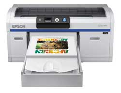 The Epson SureColor F2000 prints direct to T-shirts and other garment.s